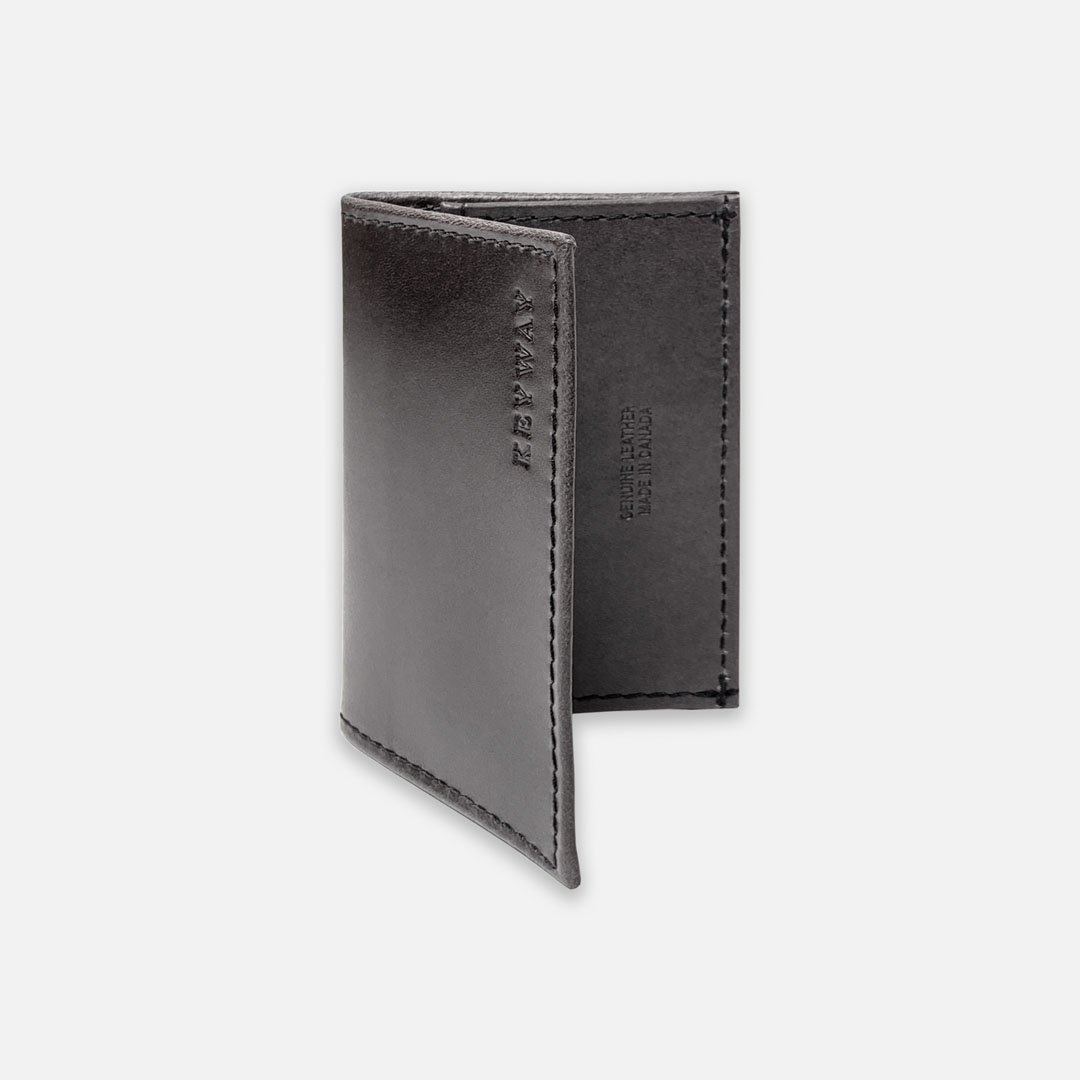 Keyway Full-grain Leather Card Holder, Charcoal, front