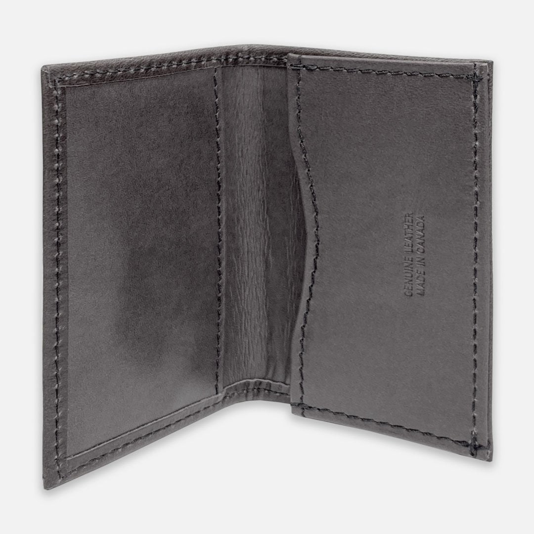 Keyway Full-grain Leather Card Holder, Charcoal, inside view of card slots