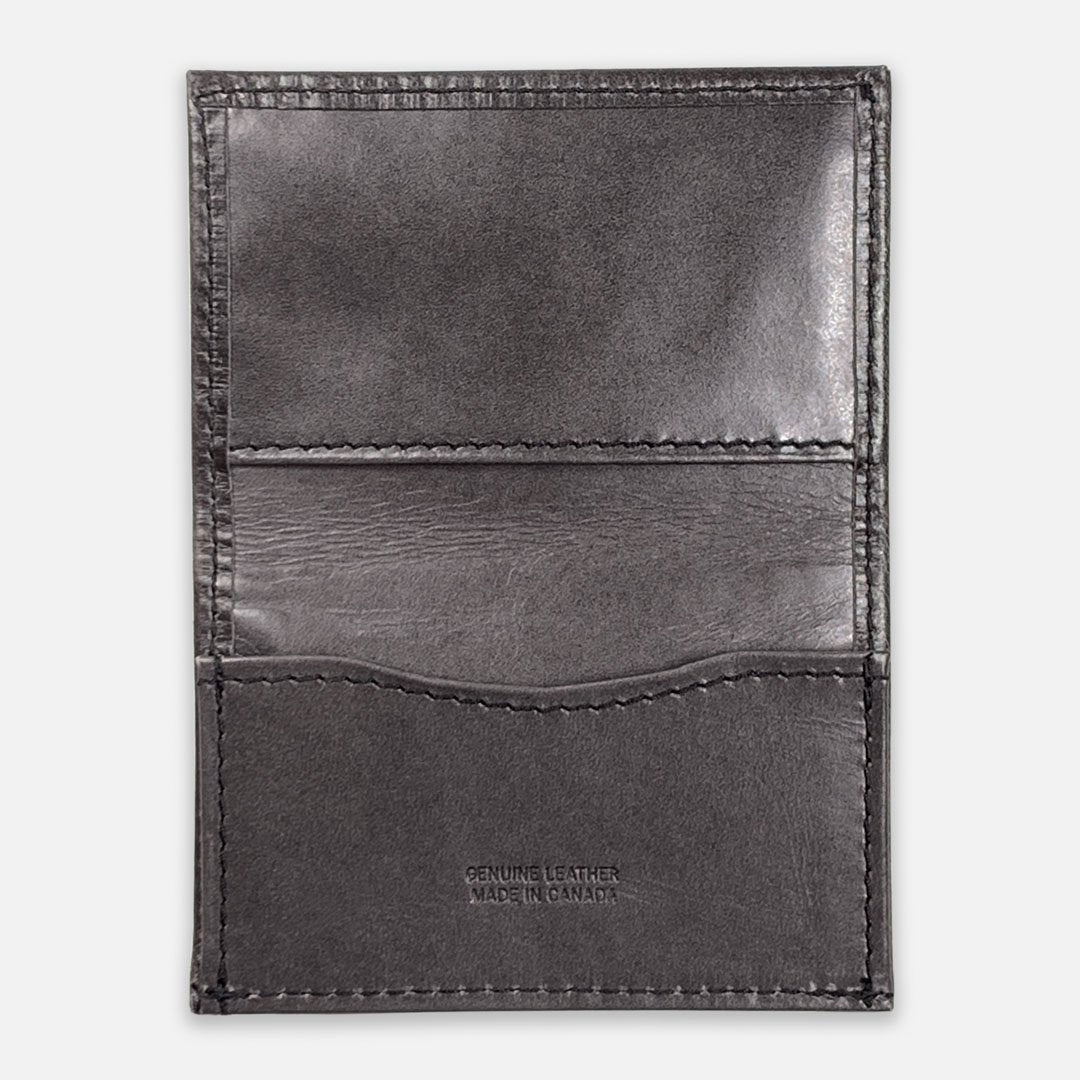 Keyway Full-grain Leather Card Holder, Charcoal, flat view of inside