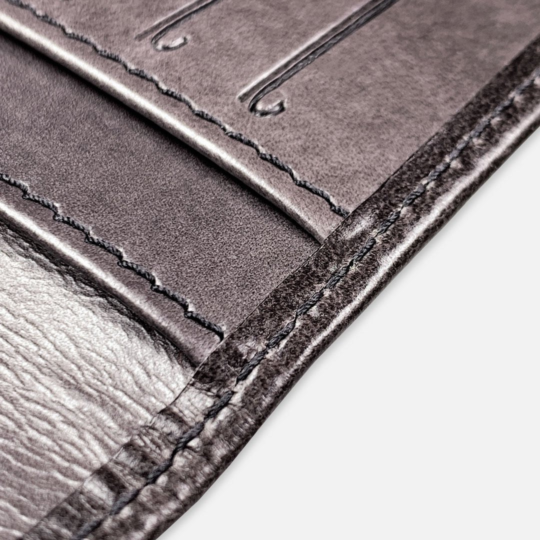 Keyway Full-grain Leather Card Holder, Charcoal, detailed shot of stitching