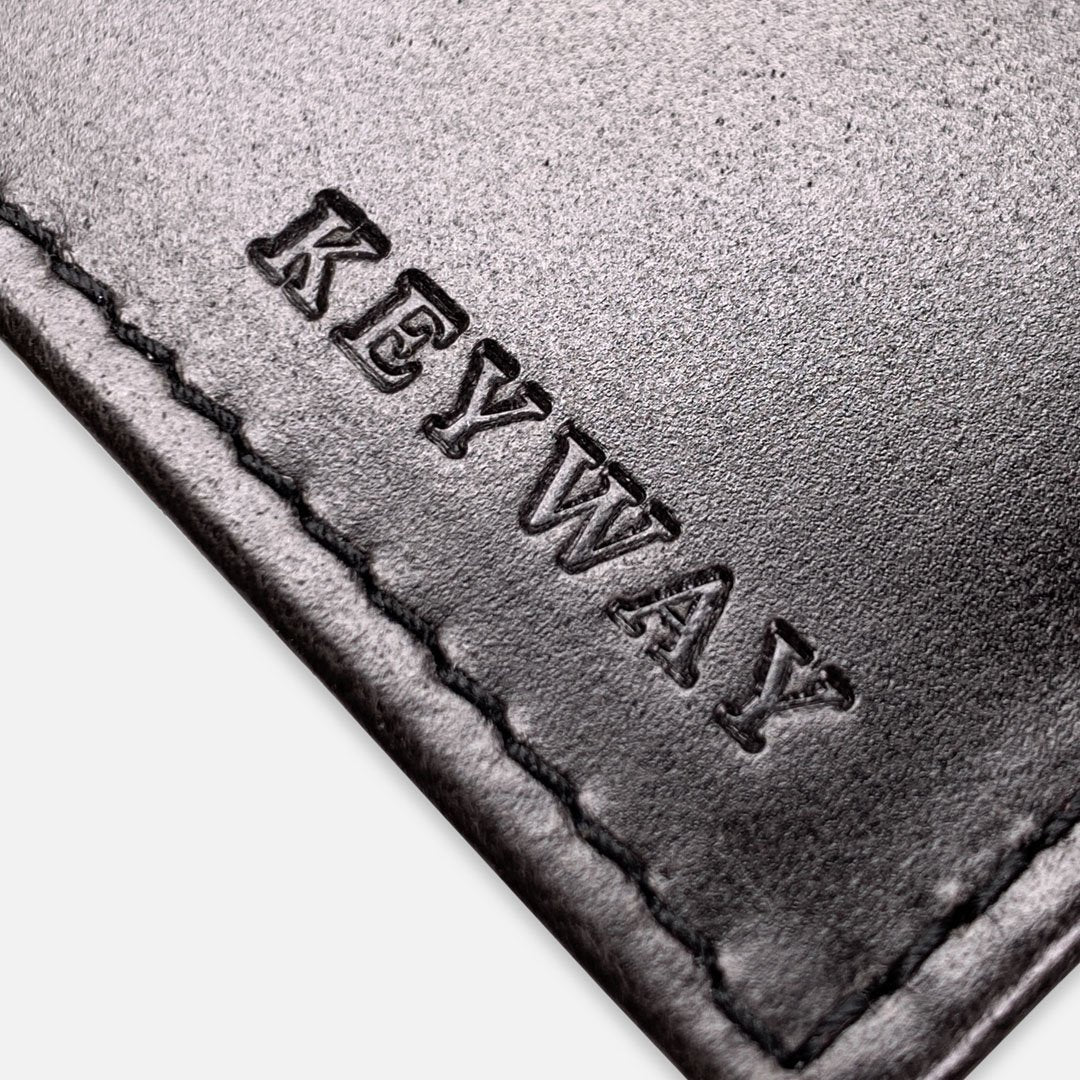 Keyway Full-grain Leather Card Holder, Charcoal, detailed shot of embossing