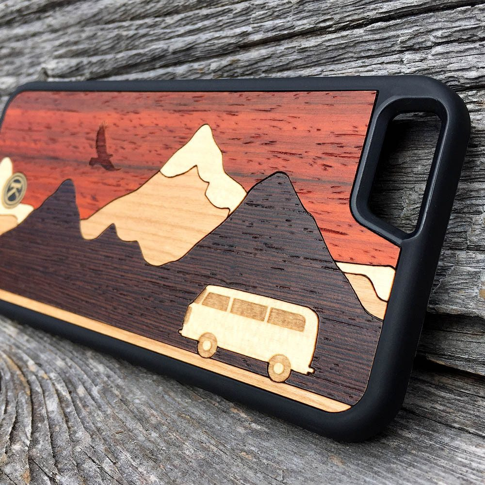 Zoomed in detailed shot of the Cross Country Wood iPhone 7/8 Case by Keyway Designs