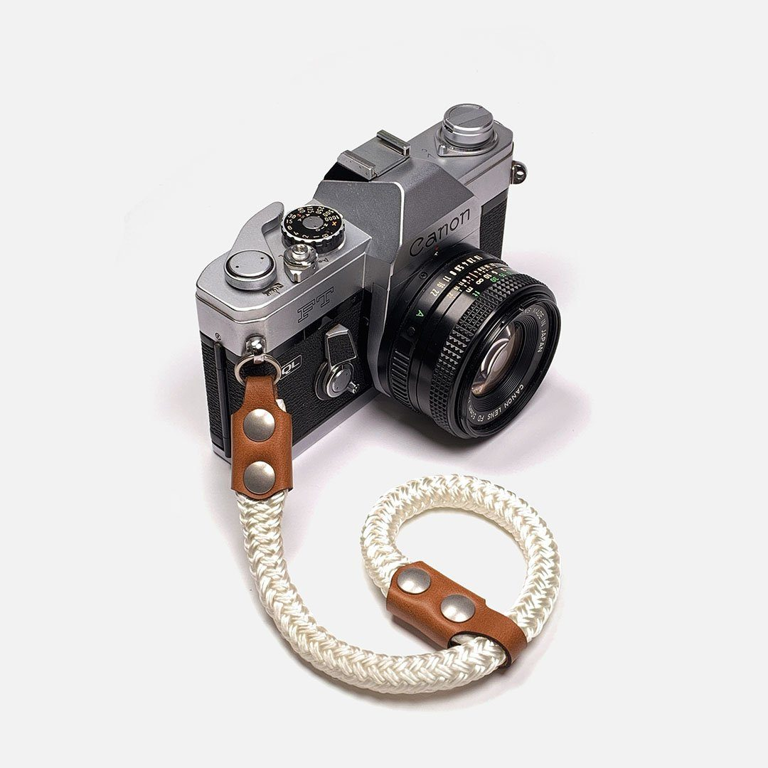 Camera Wrist Strap. Leather, Brass and Nylon. Designed and Produced in Canada by Keyway Designs.