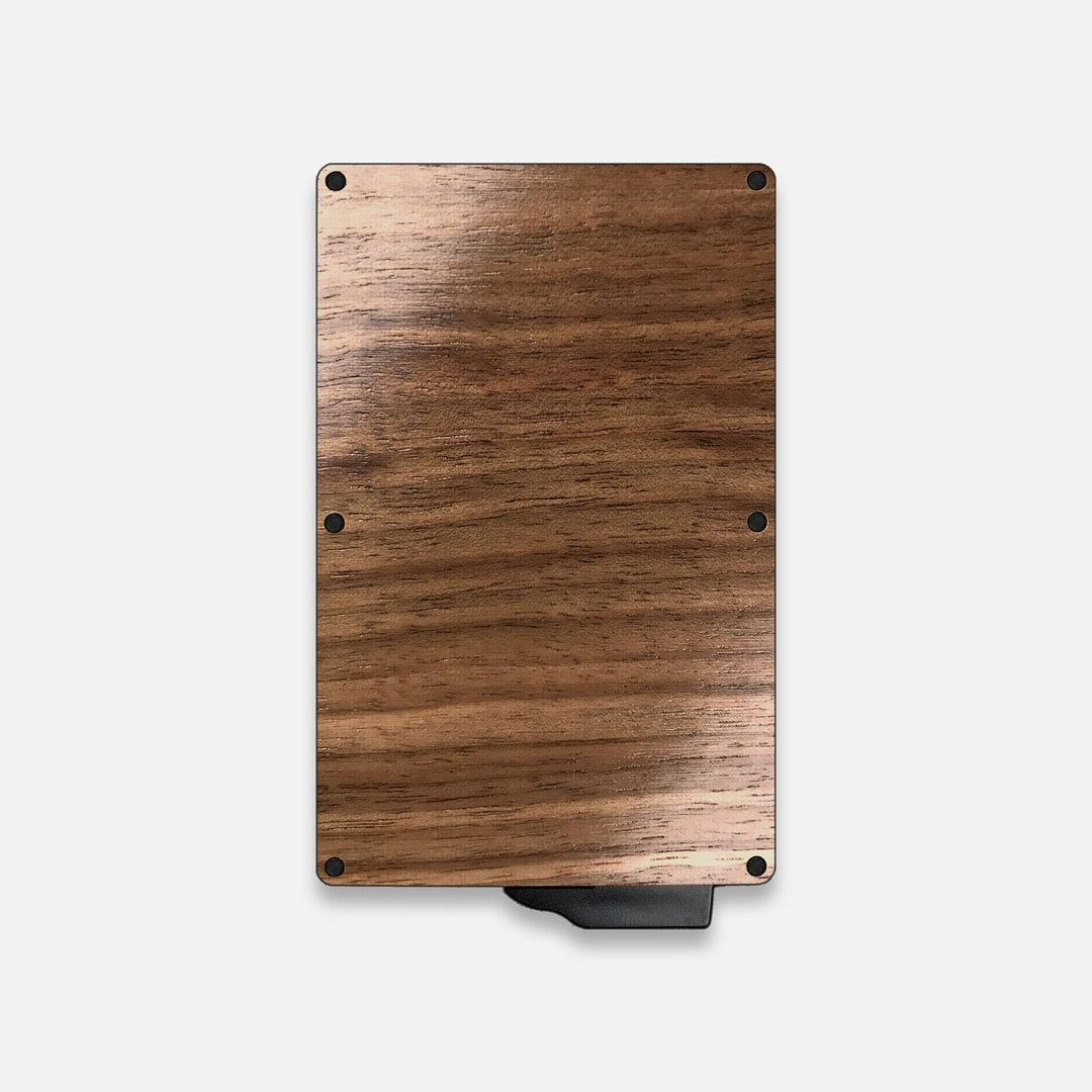 Walnut Wood & Aluminum Card Holder, Back View