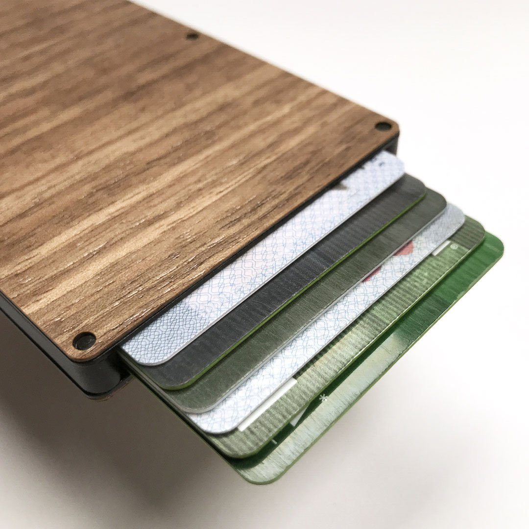Walnut Wood & Aluminum Card Holder, Cards fanned out