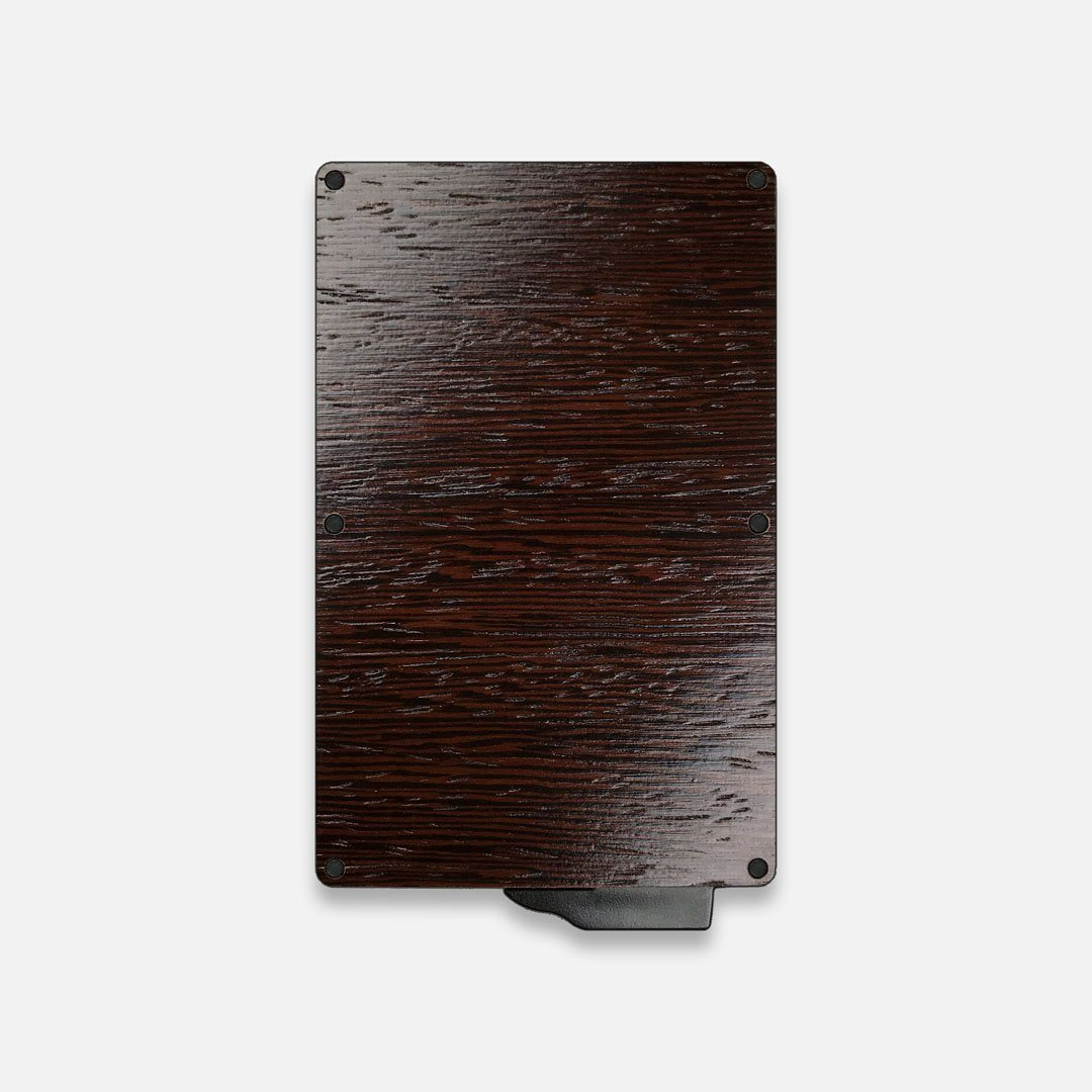 Wenge Wood & Aluminum Card Holder, Back View