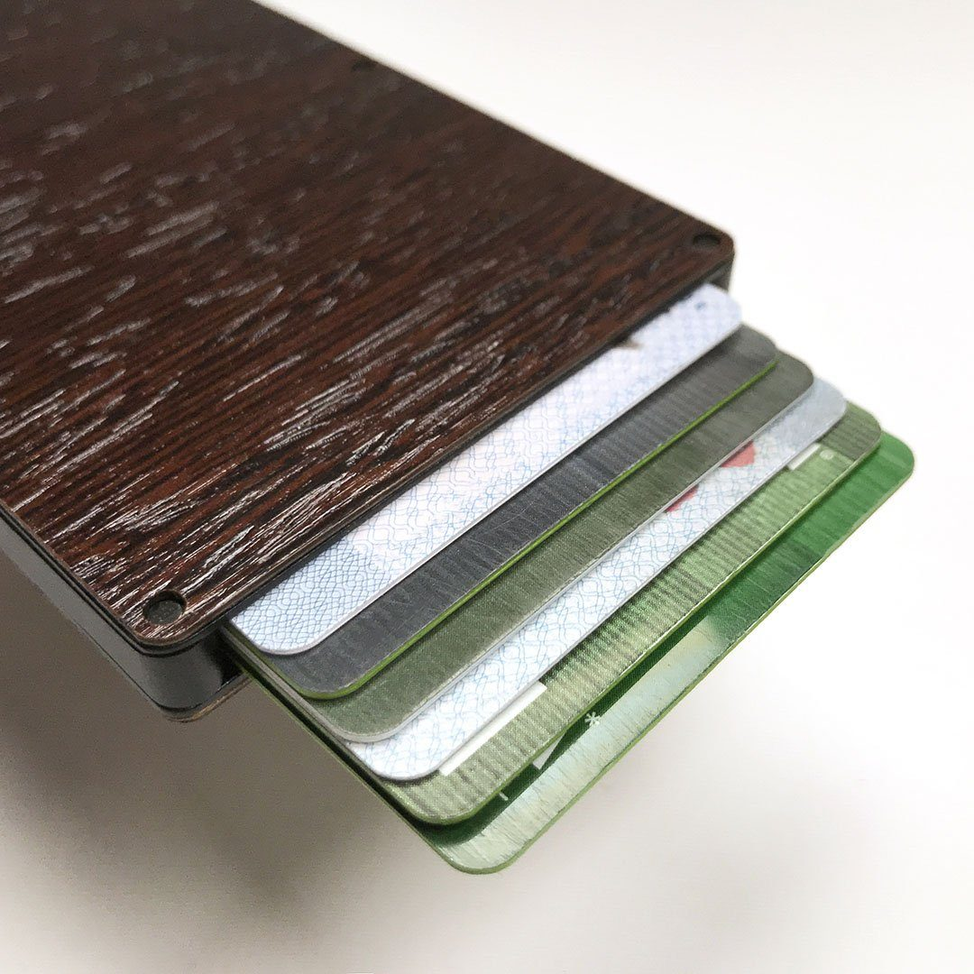 Wenge Wood & Aluminum Card Holder, Cards fanned out