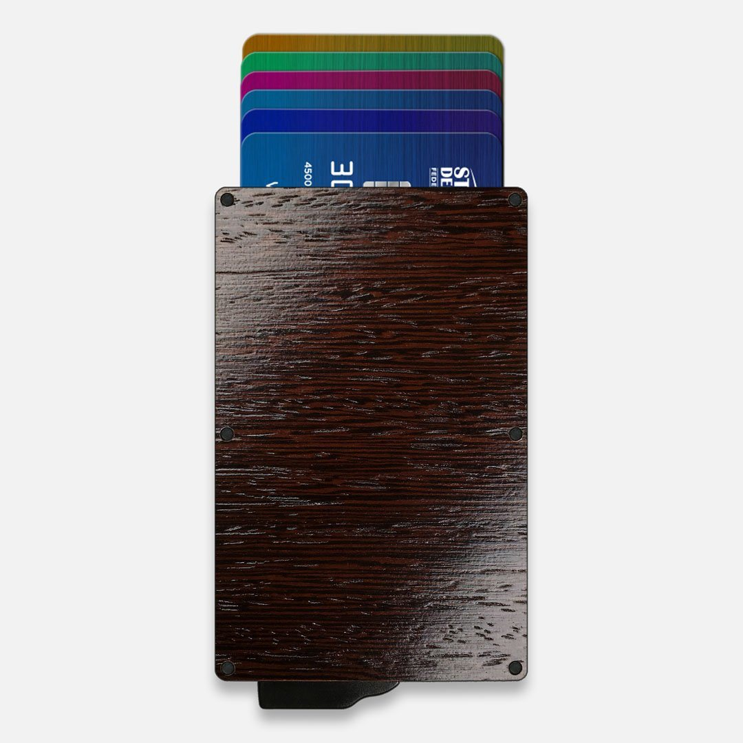 Wenge Wood & Aluminum Card Holder, Front View