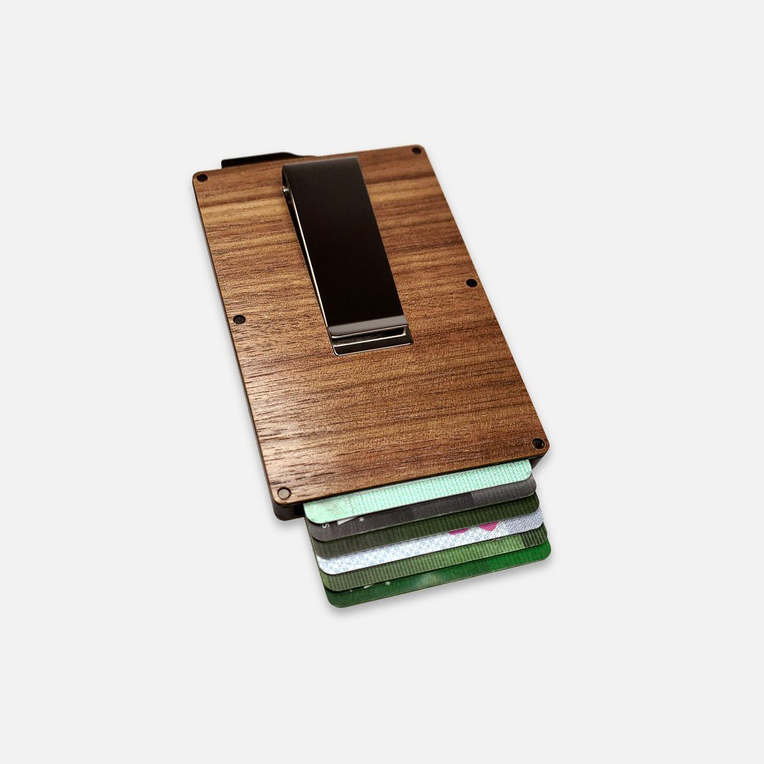 Walnut Wood & Aluminum Card Holder with Money Clip, Front View