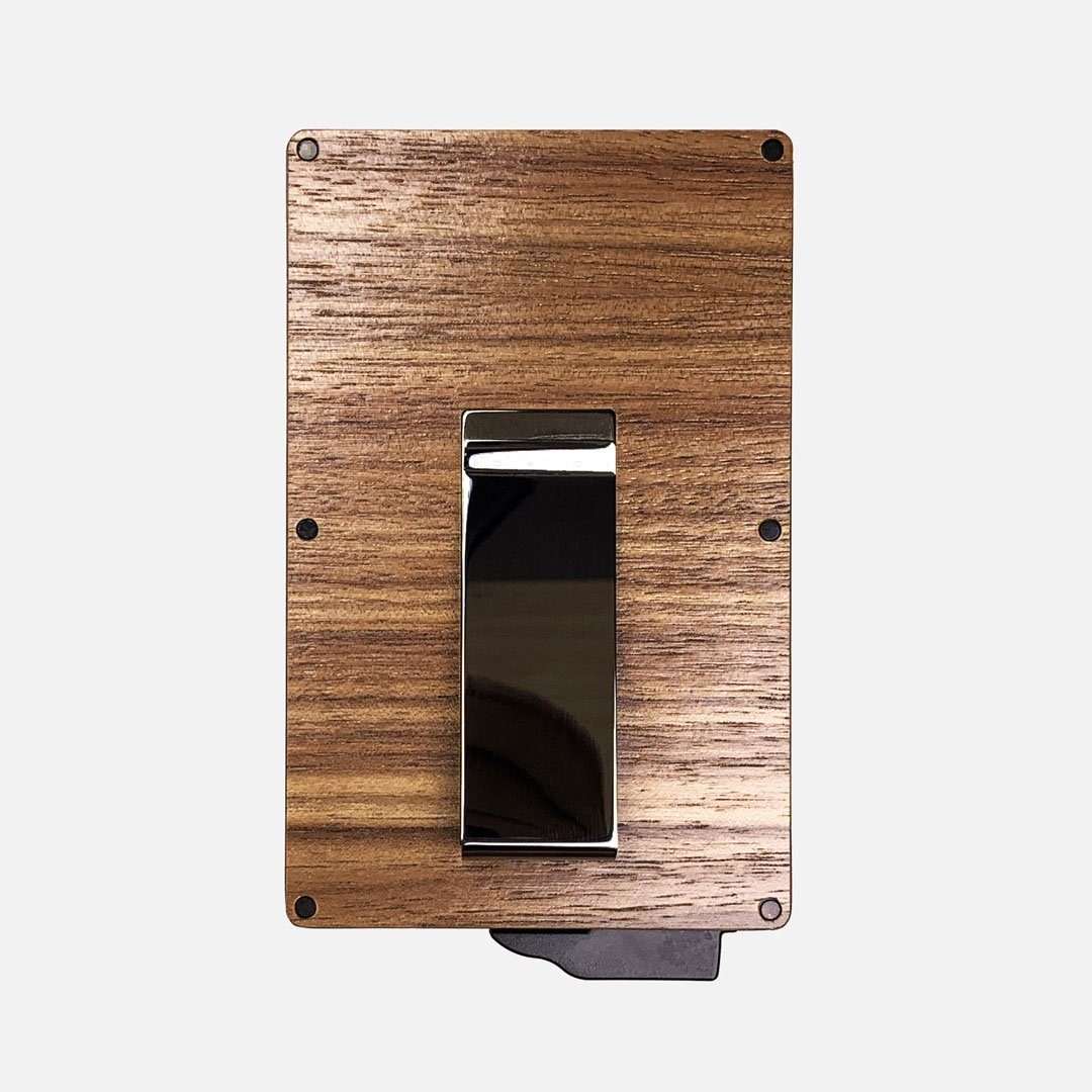 Walnut Wood & Aluminum Card Holder with Money Clip, Back View