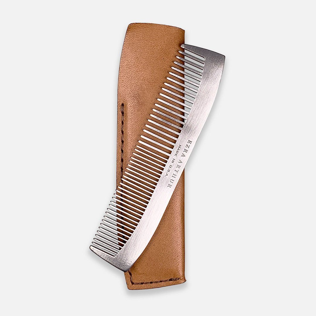 Ezra Arthur - No.1827 Pocket Comb in Whiskey Brown Horween Leather, Handcrafted in the USA