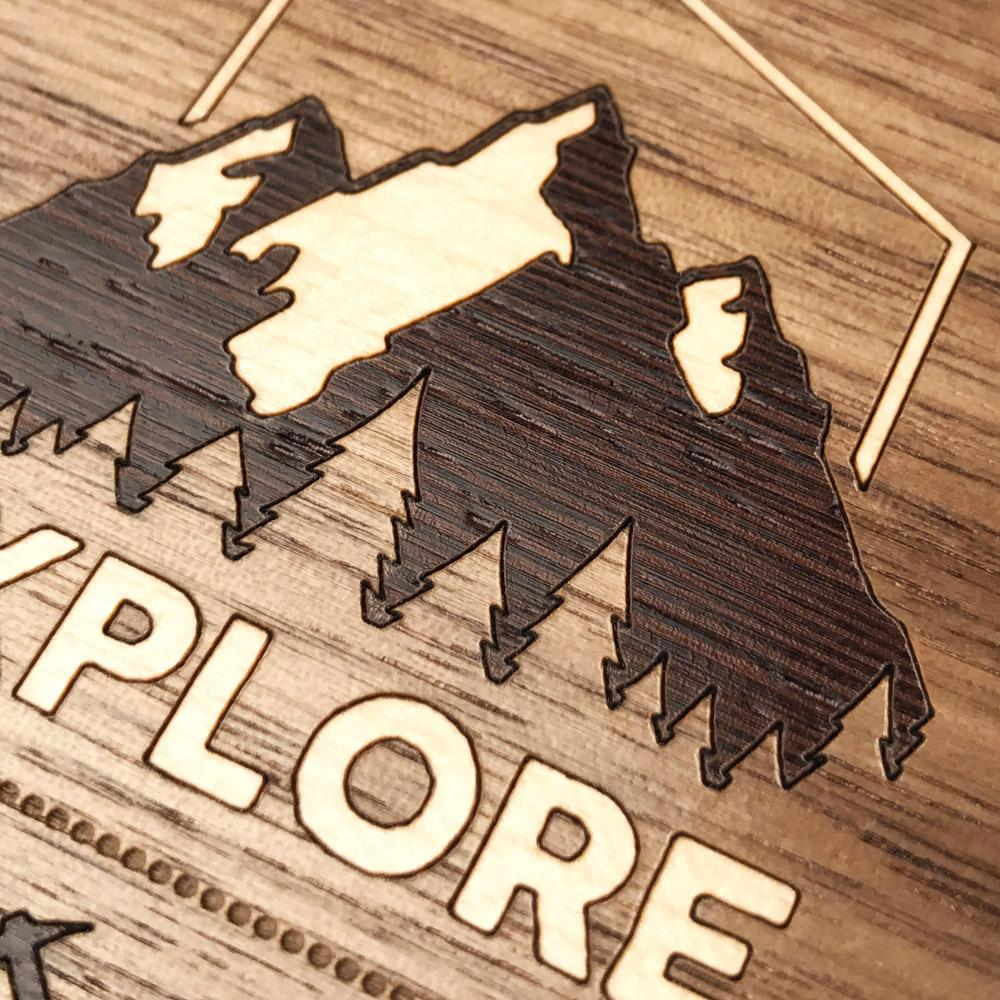 Zoomed in detailed shot of the Explore Mountain Range Wood iPhone 6 Plus Case by Keyway Designs