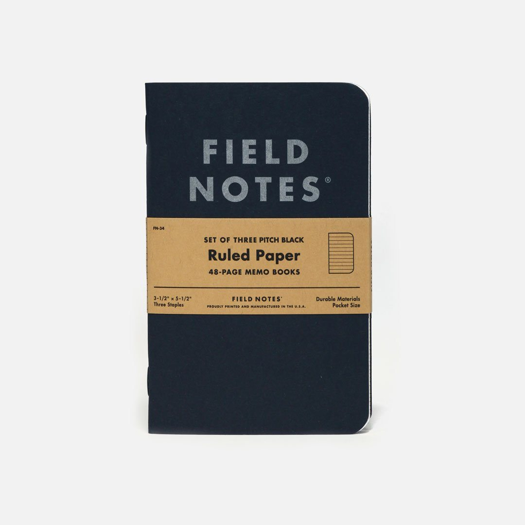 Field Notes - Pitch Black, USA Made Pocket Notebook, Front View
