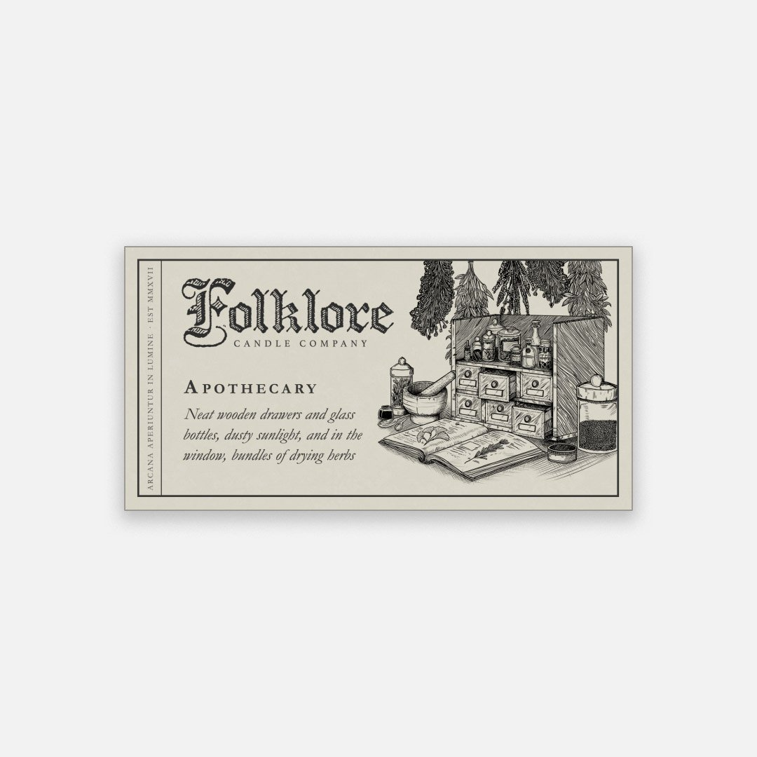 Folklore Candle - Apothecary Soy Wax Jar Candle Detailed Label