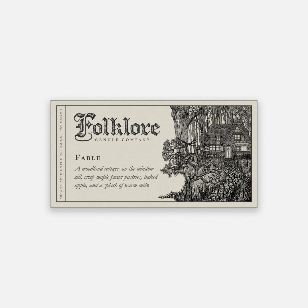 Folklore Candle - Fable Soy Wax Jar Candle Detailed Label