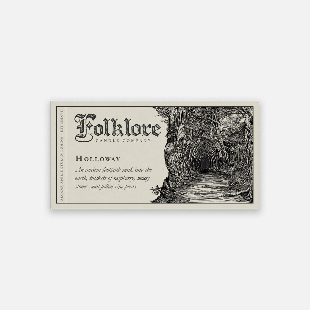 Folklore Candle - Holloway Soy Wax Jar Candle Detailed Label