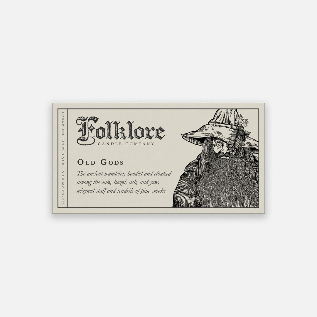 Folklore Candle - Old Gods Soy Wax Jar Candle Detailed Label
