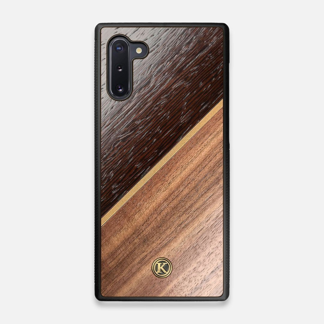 Front view of the Alium Walnut, Gold, and Wenge Elegant Wood Galaxy Note 10 Case by Keyway Designs