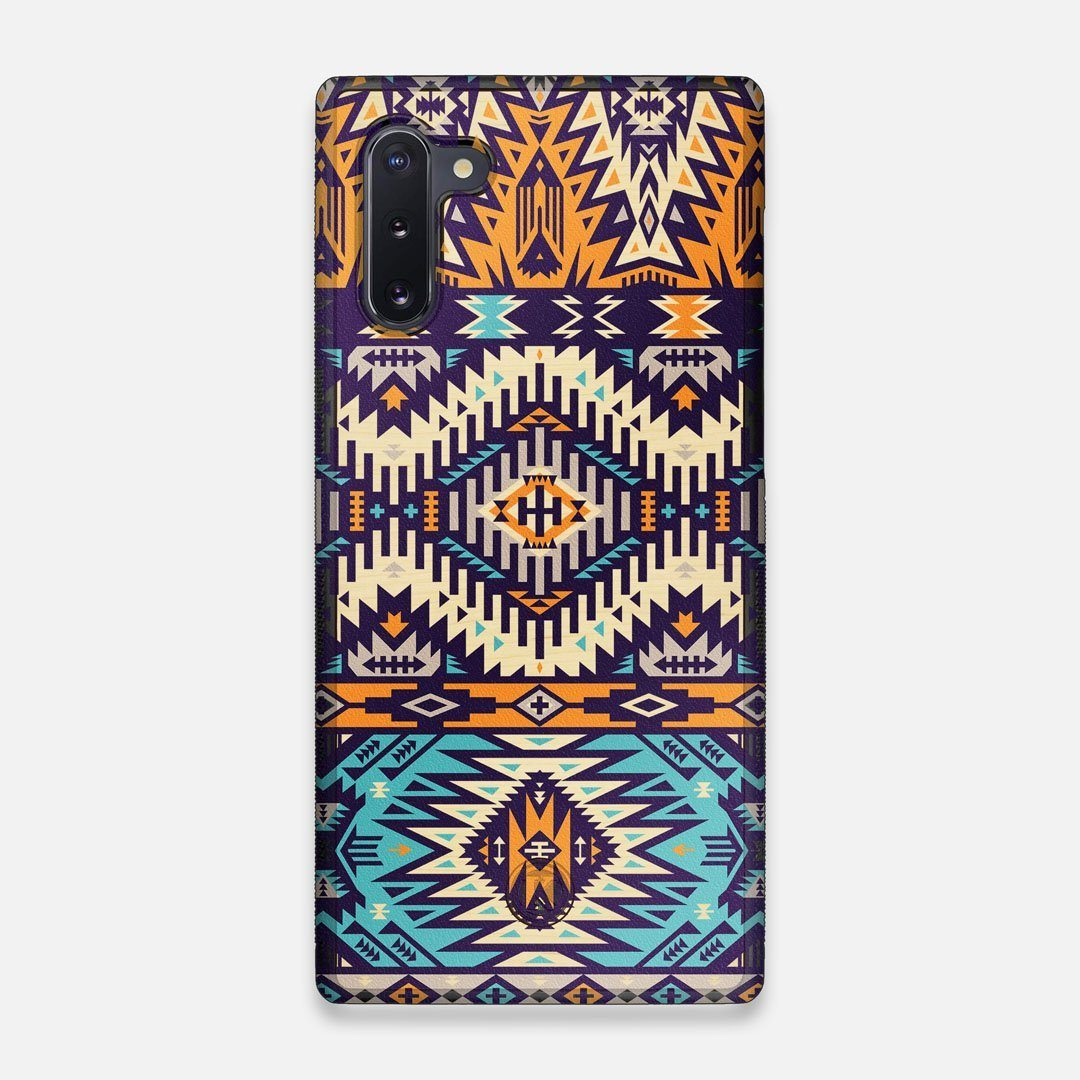 Front view of the vibrant Aztec printed Maple Wood Galaxy Note 10 Case by Keyway Designs