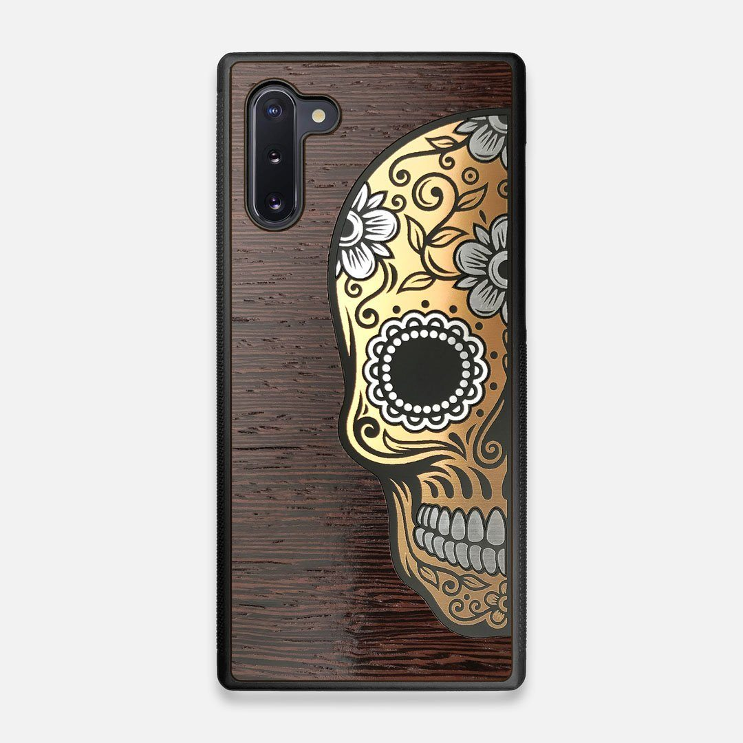 Front view of the Calavera Wood Sugar Skull Wood Galaxy Note 10 Case by Keyway Designs