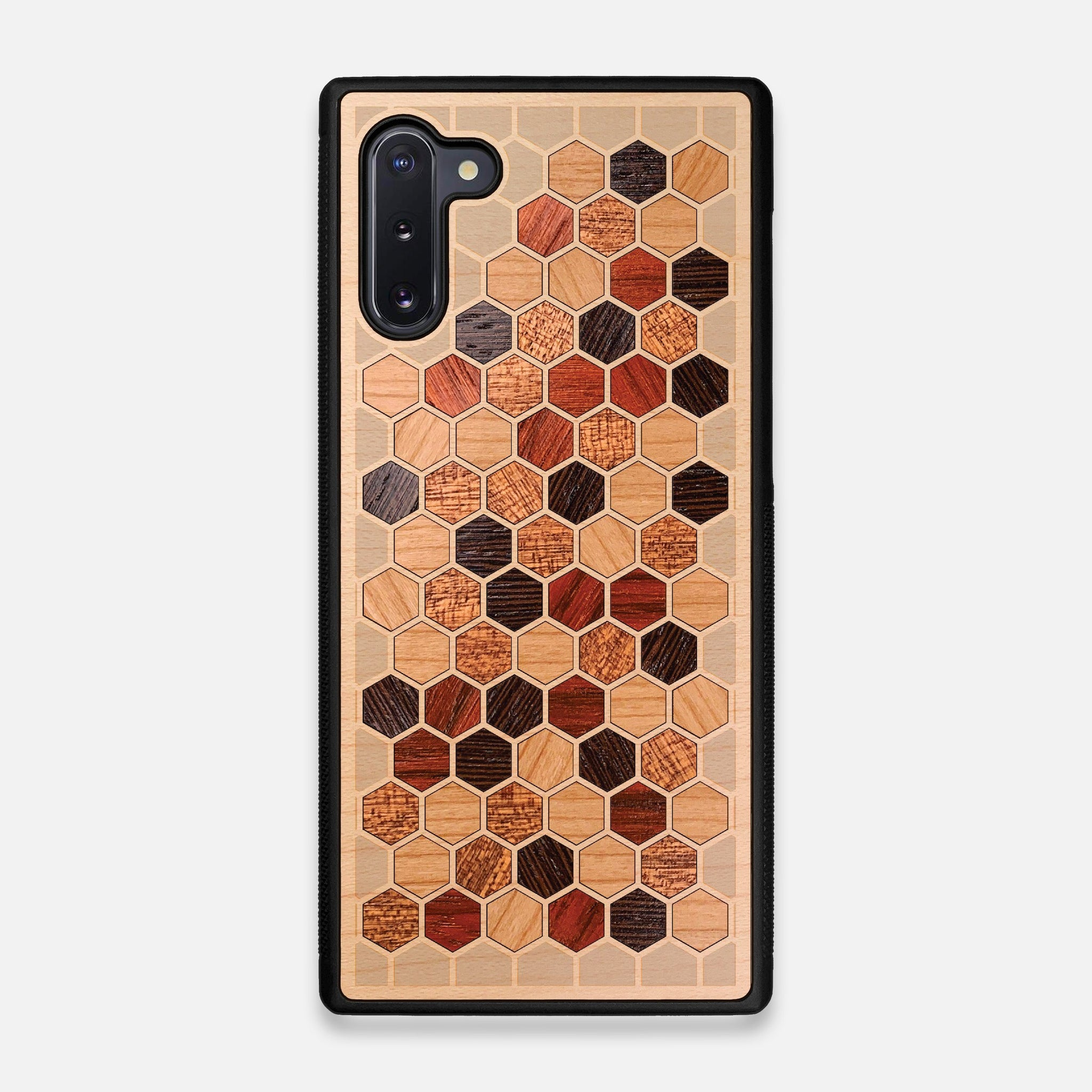 Front view of the Cellular Maple Wood Galaxy Note 10 Case by Keyway Designs