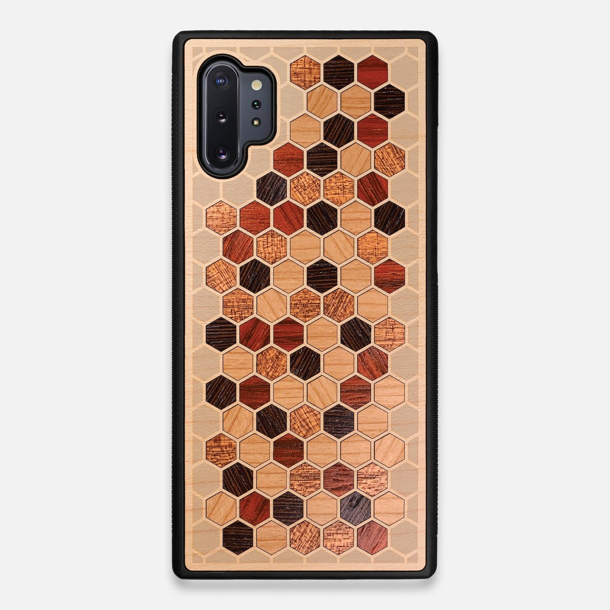 Front view of the Cellular Maple Wood Galaxy Note 10+ Case by Keyway Designs