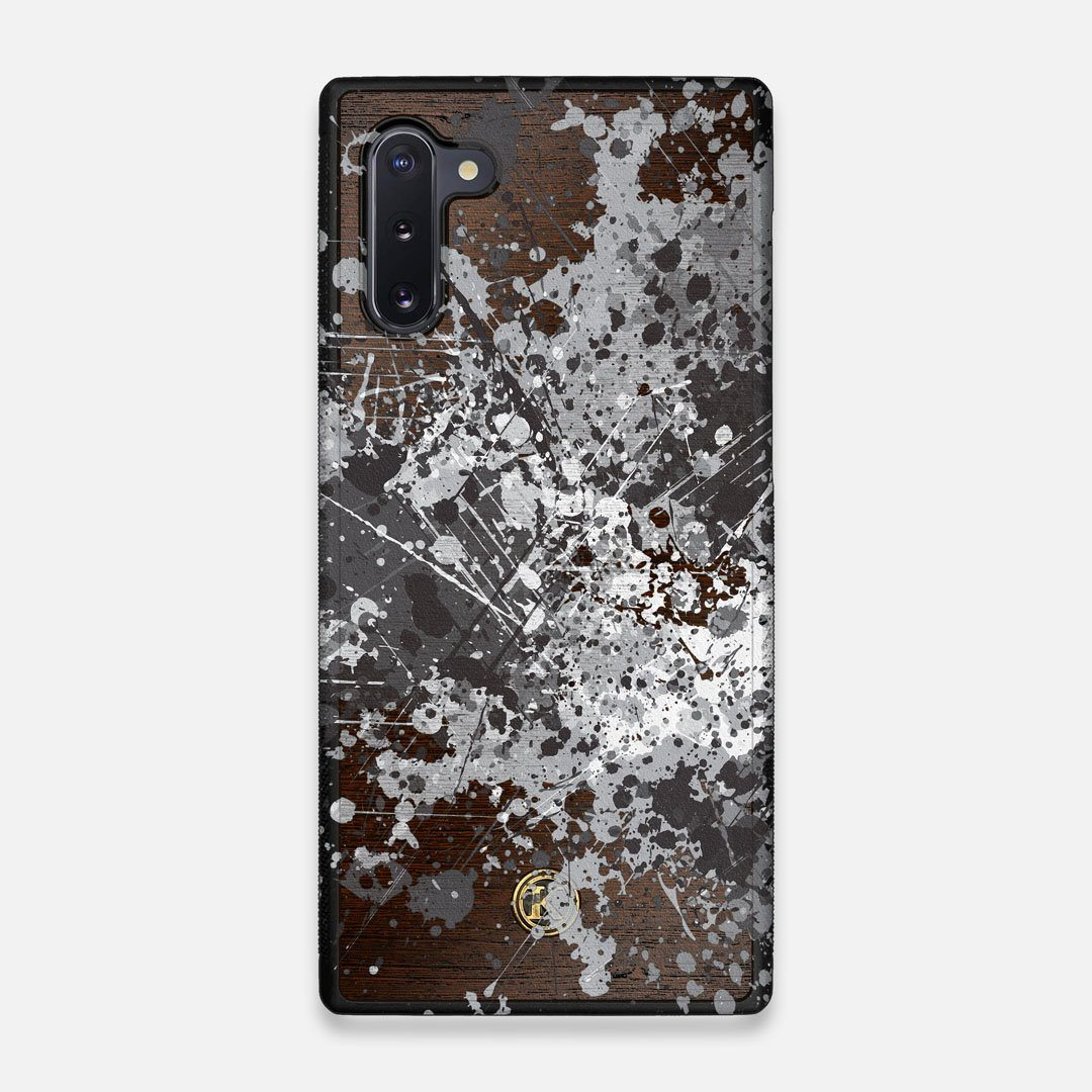 Front view of the aggressive, monochromatic splatter pattern overprintedprinted Wenge Wood Galaxy Note 10 Case by Keyway Designs