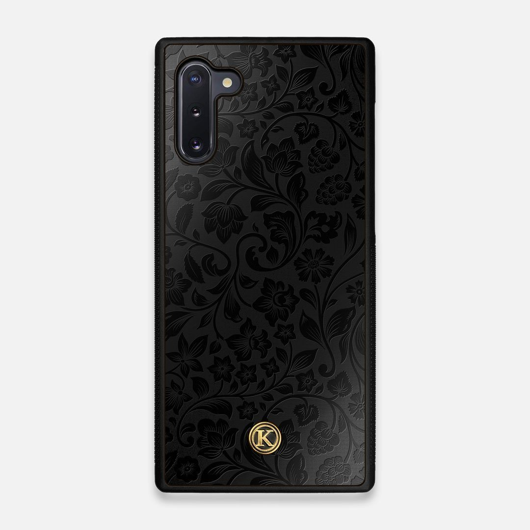Front view of the highly detailed midnight floral engraving on matte black impact acrylic Galaxy Note 10 Case by Keyway Designs