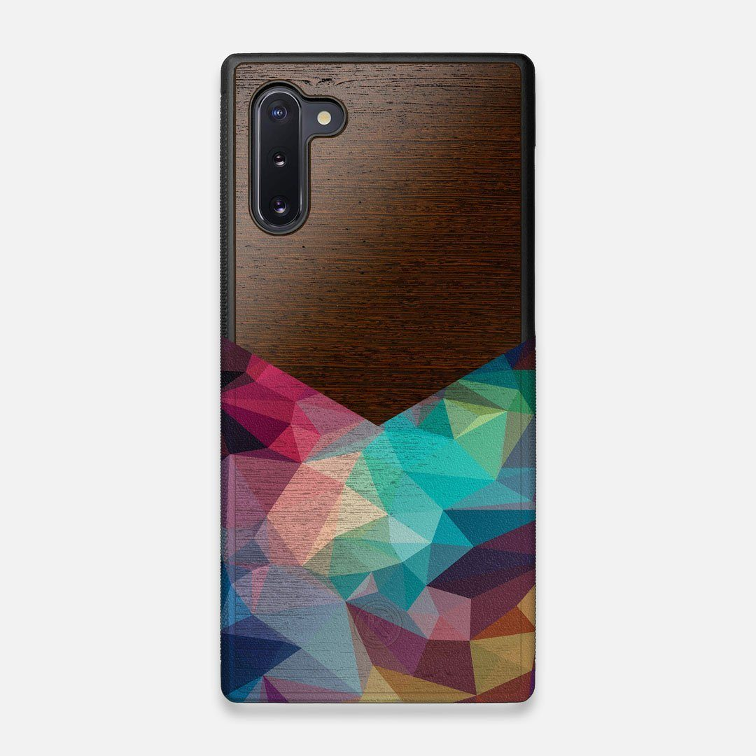 Front view of the vibrant Geometric Gradient printed Wenge Wood Galaxy Note 10 Case by Keyway Designs