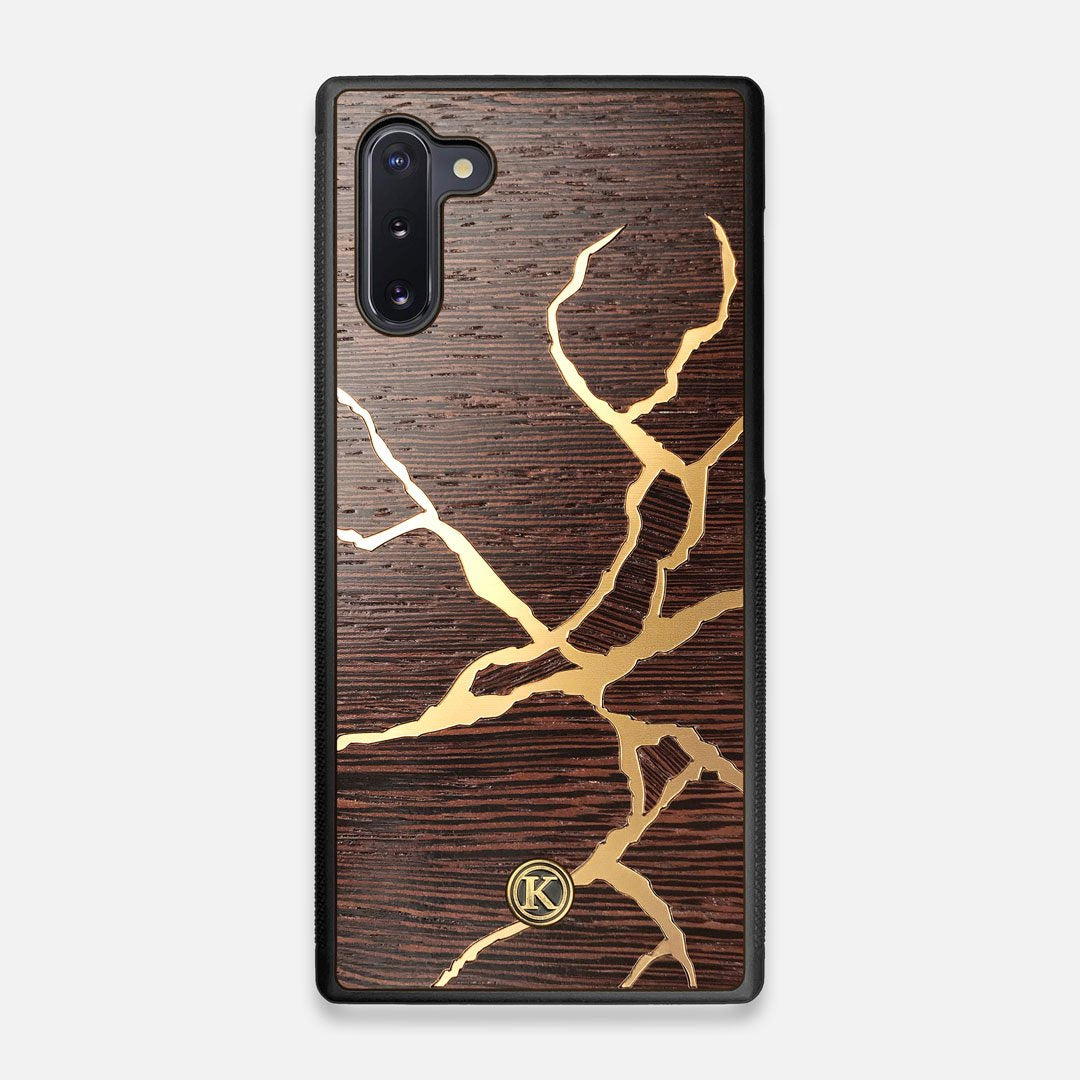 Front view of the Kintsugi inspired Gold and Wenge Wood Galaxy Note 10 Case by Keyway Designs