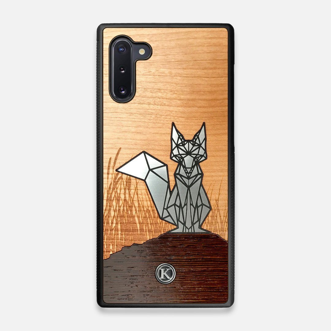 Front view of the Silver Fox & Cherry Wood Galaxy Note 10 Case by Keyway Designs