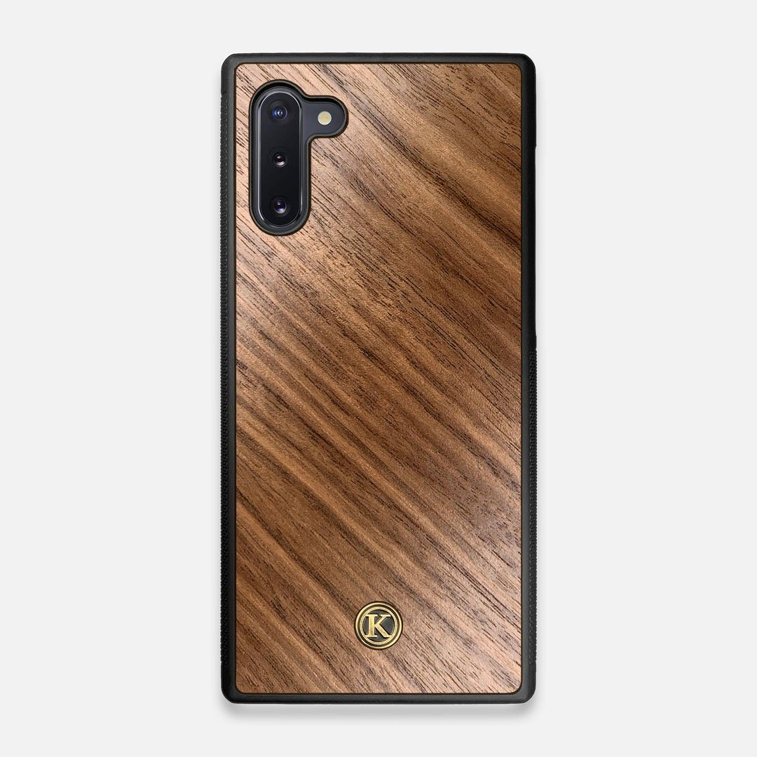 Front view of the Walnut Pure Minimalist Wood Galaxy Note 10 Case by Keyway Designs