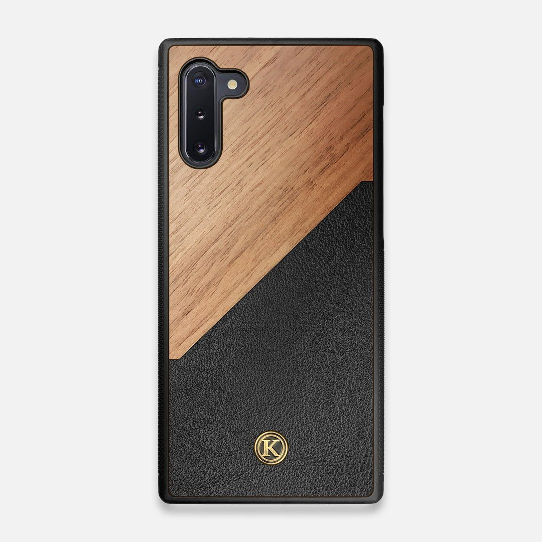 Front view of the Walnut Rift Elegant Wood & Leather Galaxy Note 10 Case by Keyway Designs