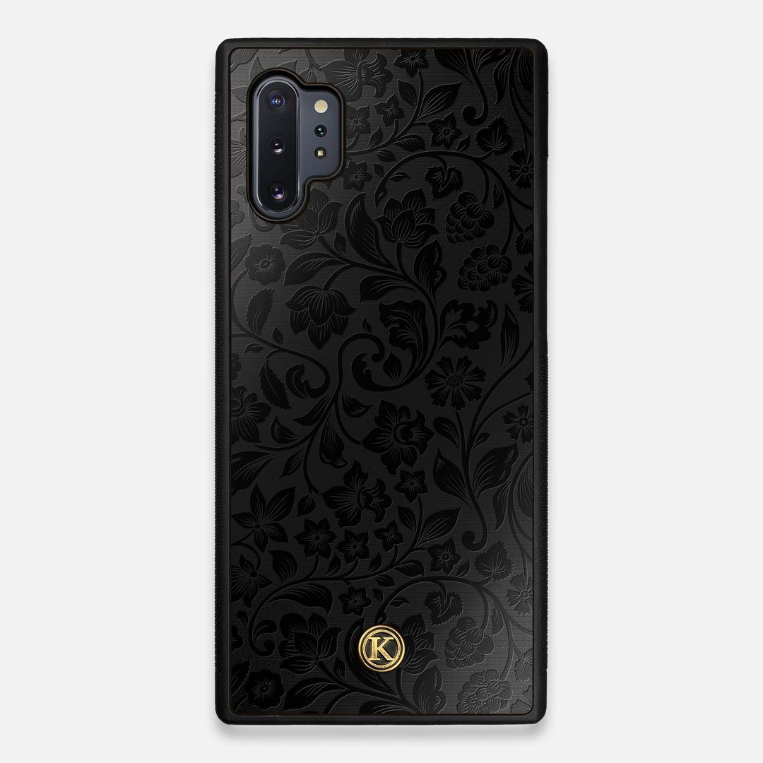 Front view of the highly detailed midnight floral engraving on matte black impact acrylic Galaxy Note 10 Plus Case by Keyway Designs