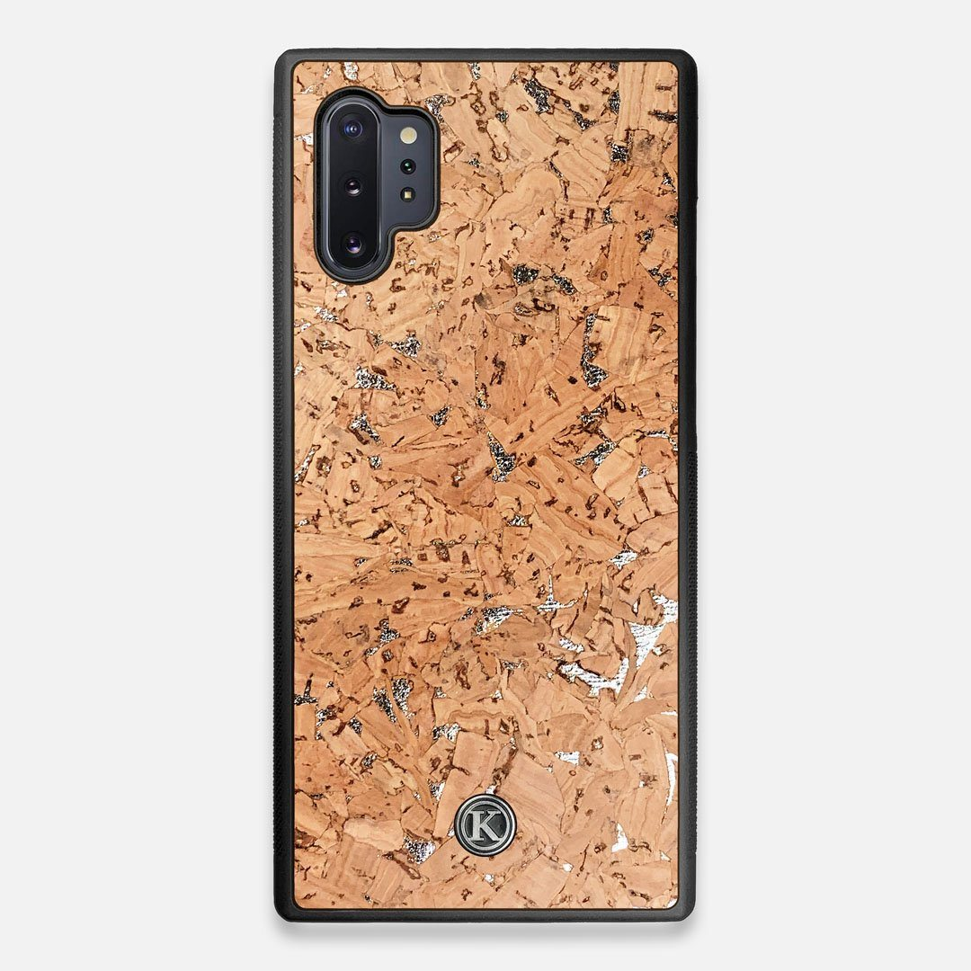 Front view of the silver fleck natural cork Galaxy Note 10 Plus Case by Keyway Designs