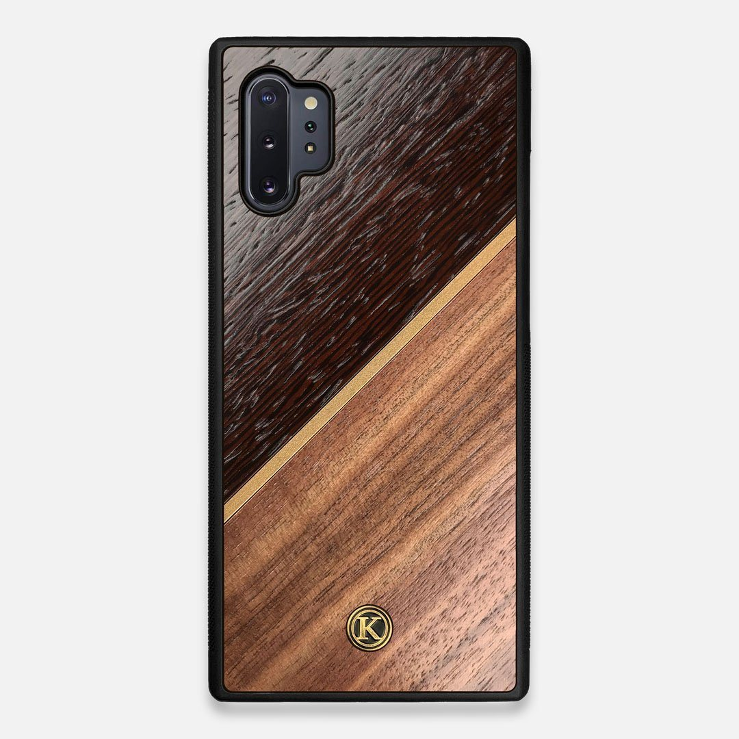Front view of the Alium Walnut, Gold, and Wenge Elegant Wood Galaxy Note 10 Plus Case by Keyway Designs