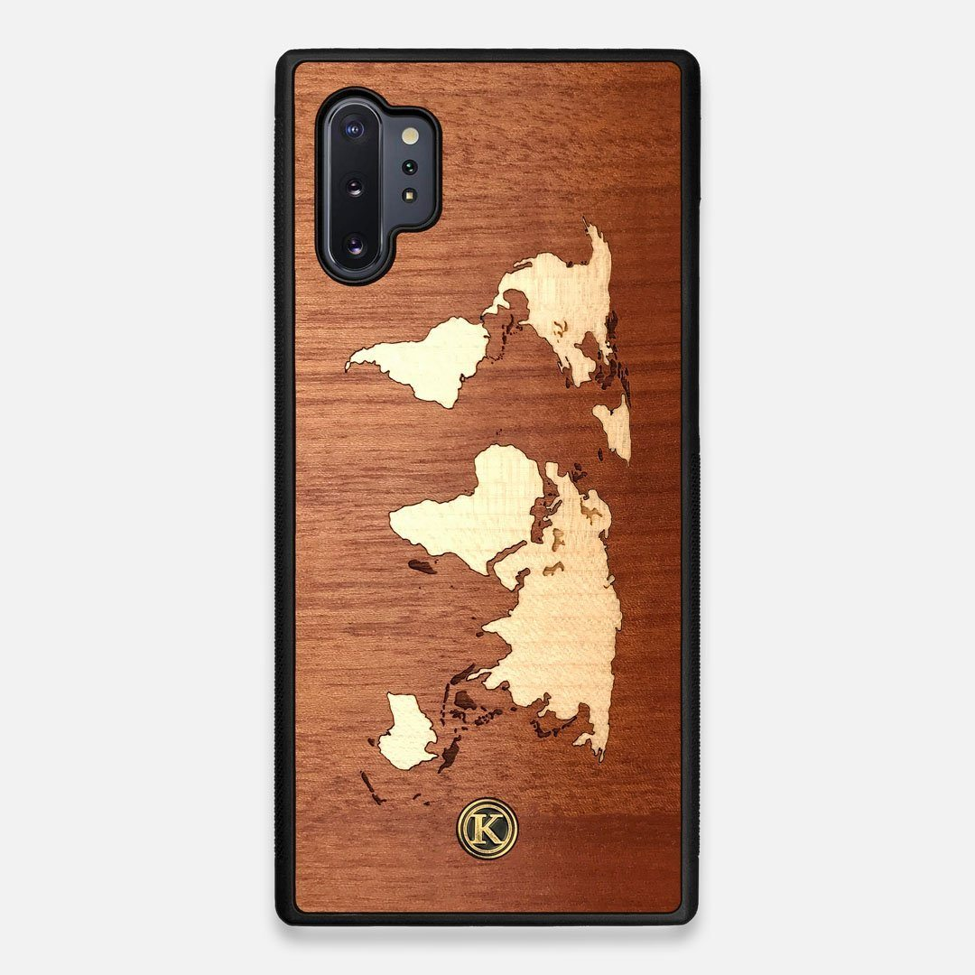 Front view of the Atlas Sapele Wood Galaxy Note 10 Plus Case by Keyway Designs