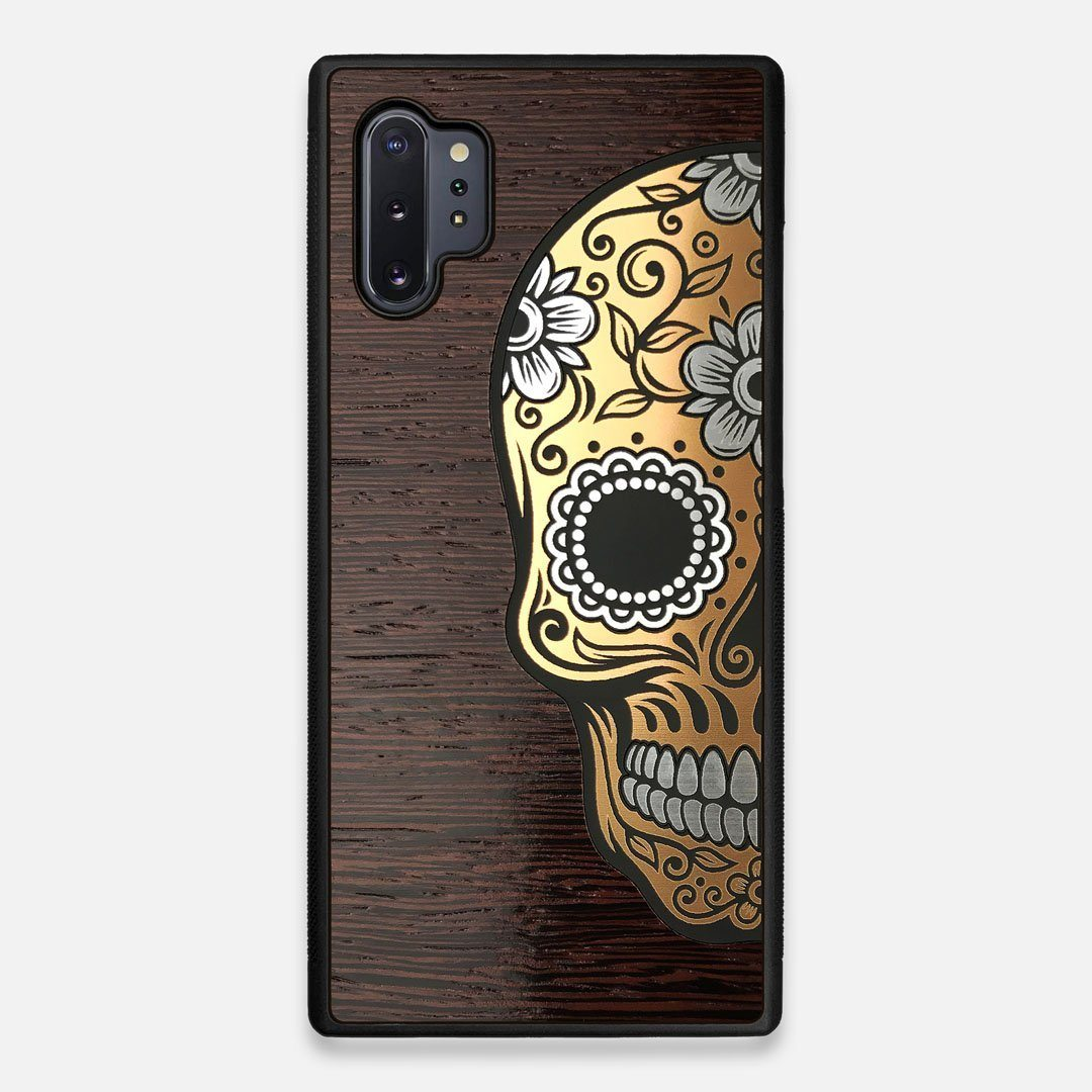 Front view of the Calavera Wood Sugar Skull Wood Galaxy Note 10 Plus Case by Keyway Designs