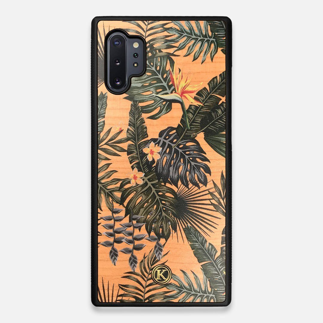 Front view of the Floral tropical leaf printed Cherry Wood Galaxy Note 10 Plus Case by Keyway Designs