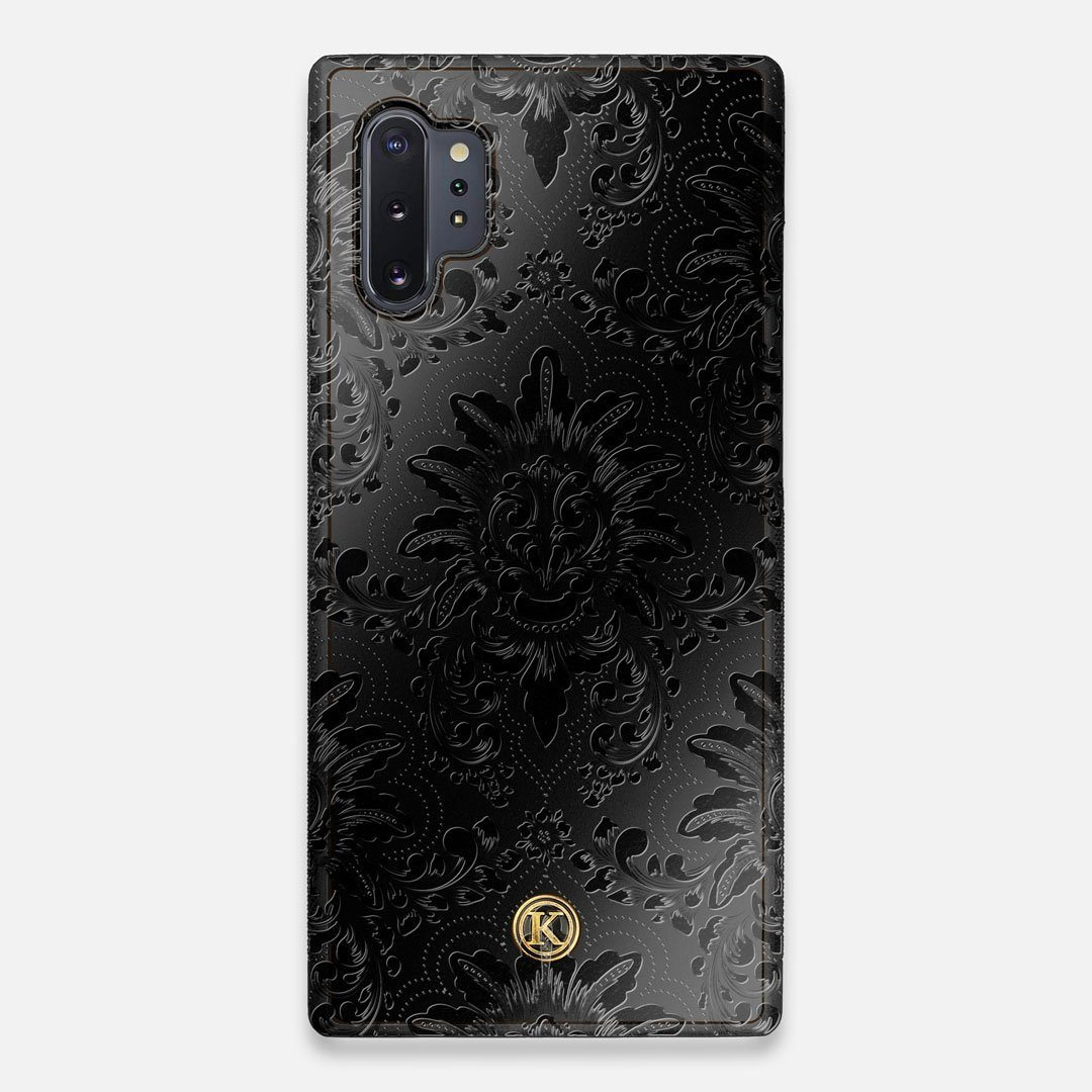 Front view of the detailed gloss Damask pattern printed on matte black impact acrylic Galaxy Note 10 Plus Case by Keyway Designs