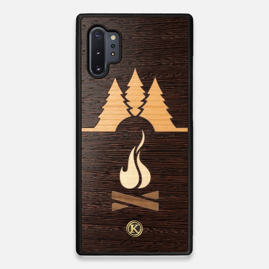 Front view of the Nomad Campsite Wood Galaxy Note 10 Plus Case by Keyway Designs