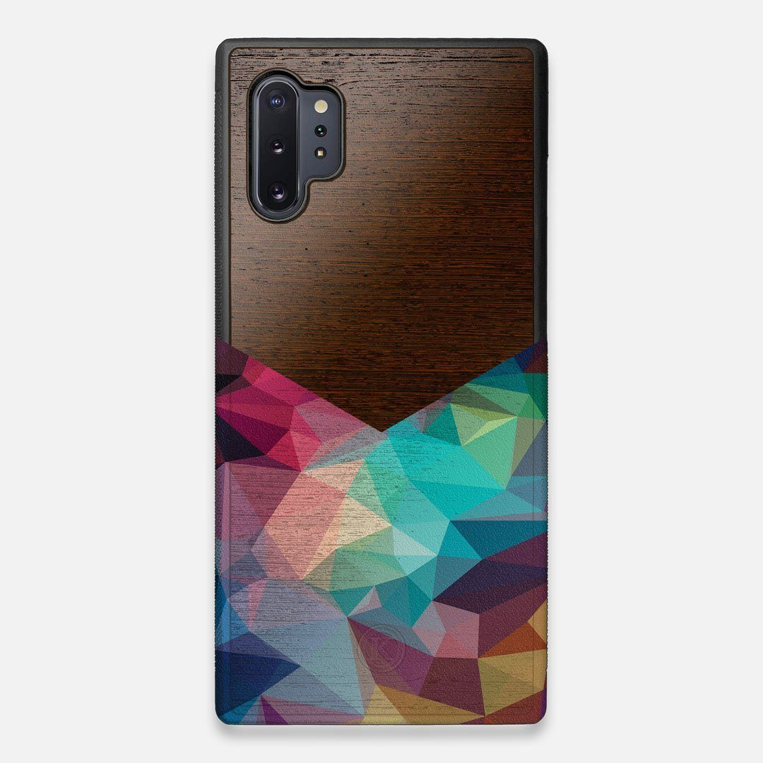 Front view of the vibrant Geometric Gradient printed Wenge Wood Galaxy Note 10 Plus Case by Keyway Designs