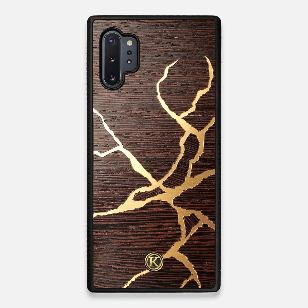 Front view of the Kintsugi inspired Gold and Wenge Wood Galaxy Note 10 Plus Case by Keyway Designs