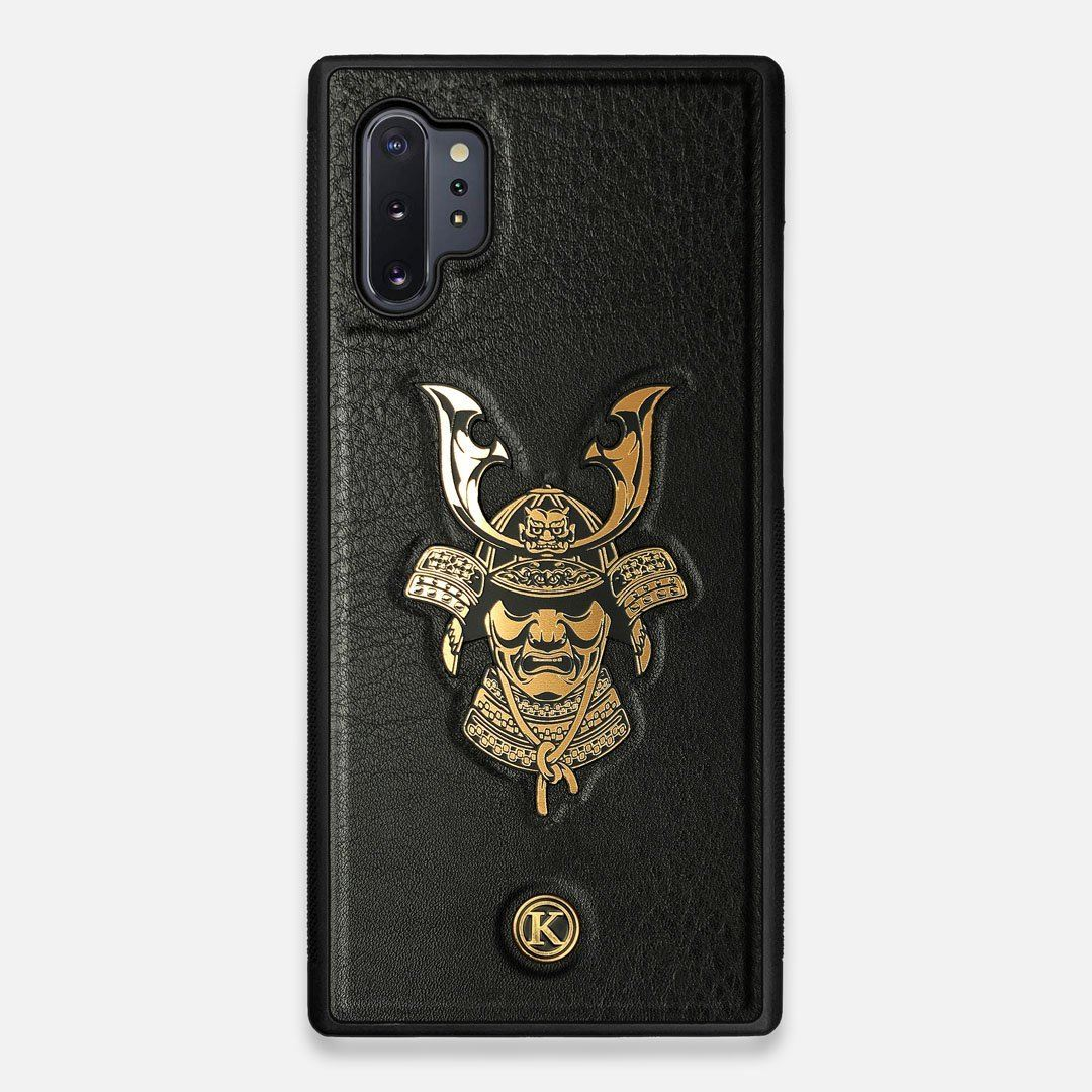 Front view of the Samurai Black Leather Galaxy Note 10 Plus Case by Keyway Designs
