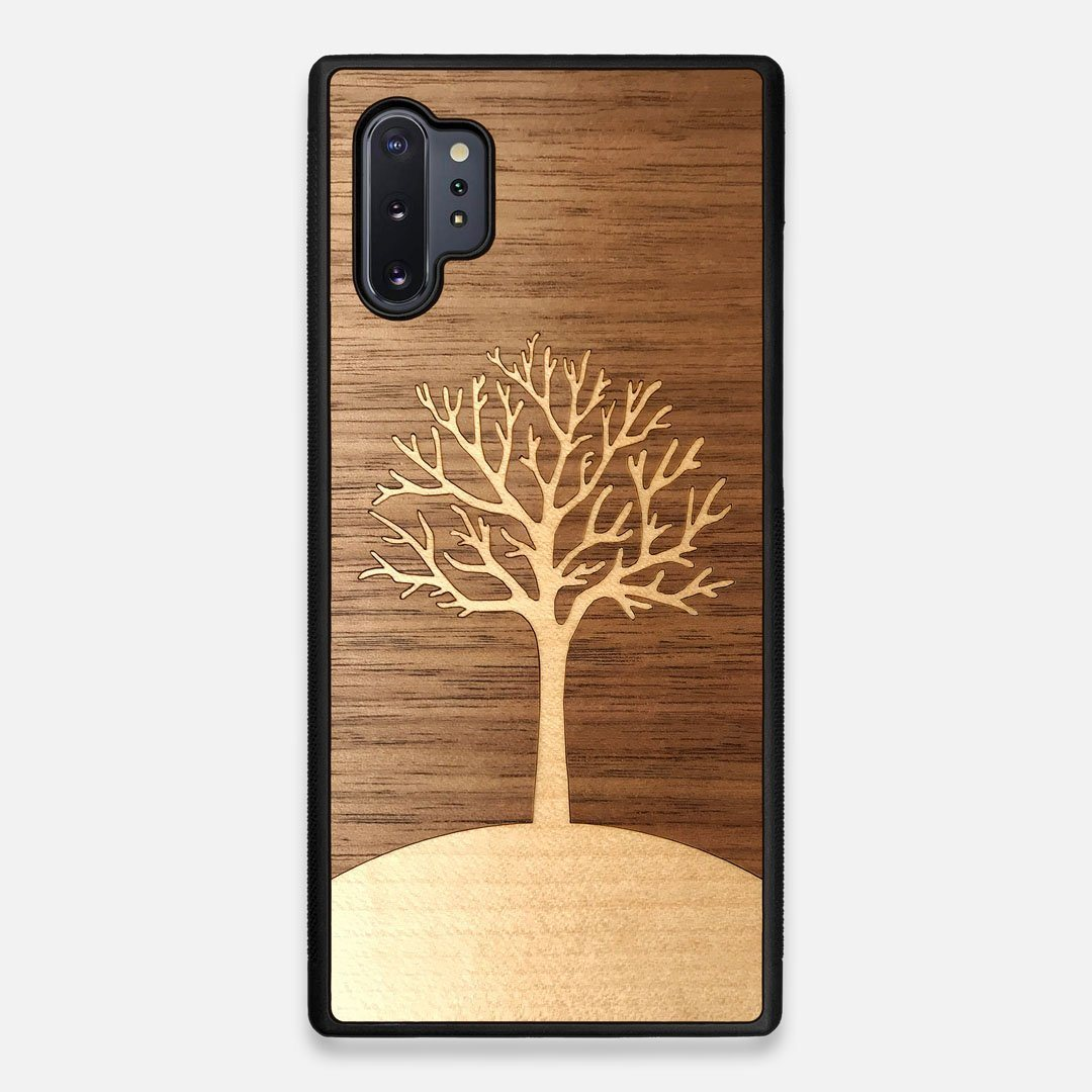 Front view of the Tree Of Life Walnut Wood Galaxy Note 10 Plus Case by Keyway Designs