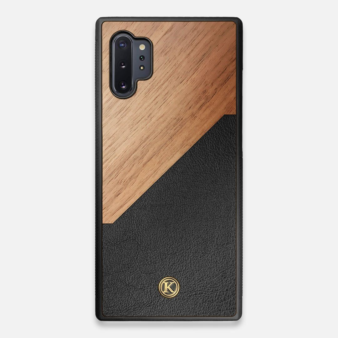 Front view of the Walnut Rift Elegant Wood & Leather Galaxy Note 10 Plus Case by Keyway Designs