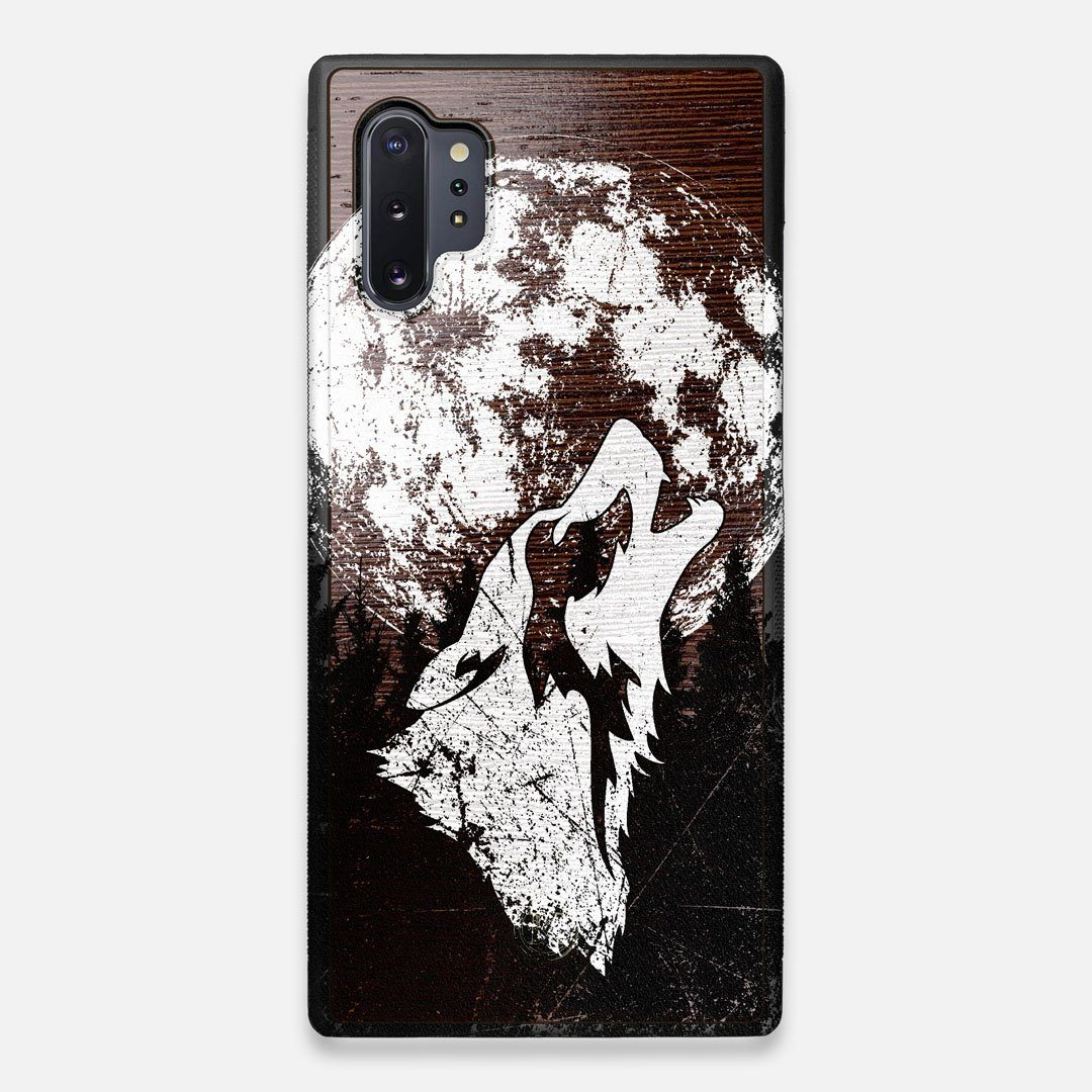 Front view of the high-contrast howling wolf on a full moon printed on a Wenge Wood Galaxy Note 10 Plus Case by Keyway Designs