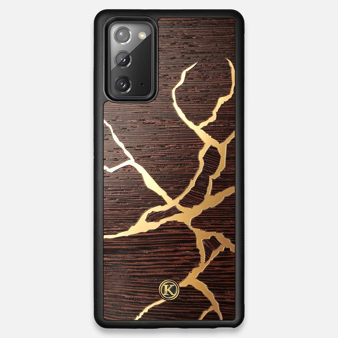 Front view of the Kintsugi inspired Gold and Wenge Wood Galaxy Note 20 Case by Keyway Designs