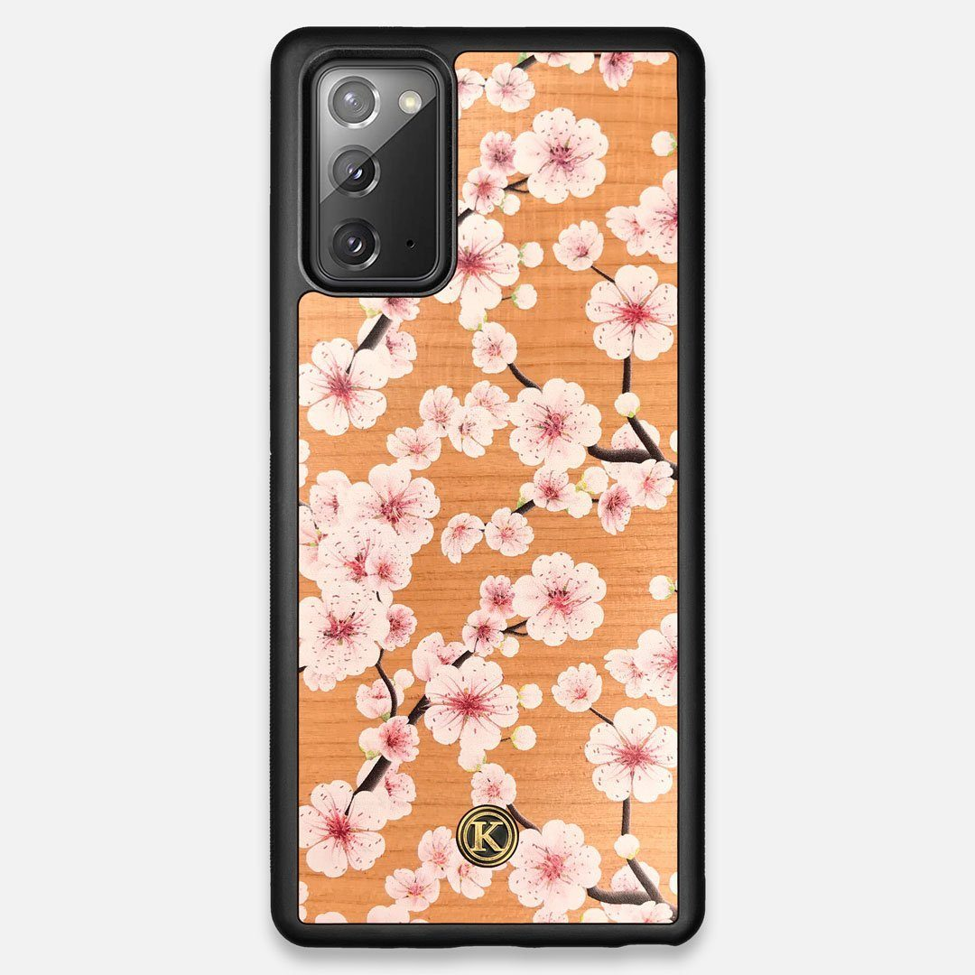 Front view of the Sakura Printed Cherry-blossom Cherry Wood Galaxy Note 20 Case by Keyway Designs