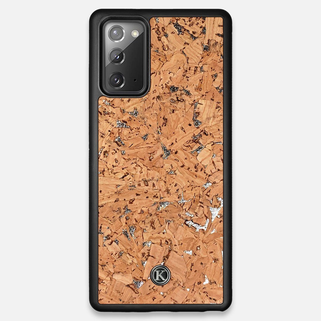 Front view of the silver fleck natural cork Galaxy Note 20 Case by Keyway Designs